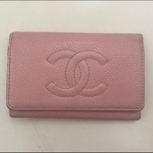 Vintage Chanel Pink Caviar Leather Keychain Wallet